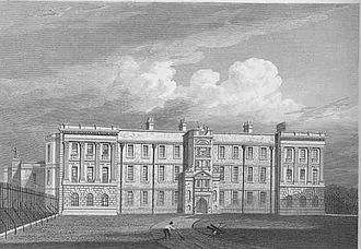 Lyme Park - The north front of Lyme from Jones' Views of the Seats of Noblemen and Gentlemen (1819)
