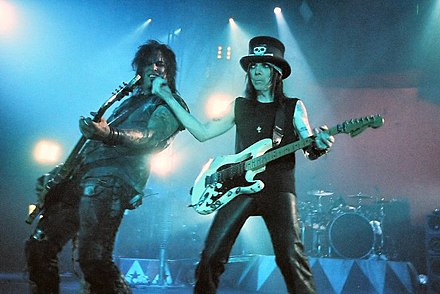Nikki Sixx and Mick Mars performing onstage with Motley Crue, on June 14, 2005 in Glasgow, Scotland Motley Crue - 2005.jpg