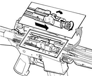 ArmaLite AR-15 - Diagram of an M16 bolt, locking