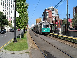Brigham Circle (MBTA station) - An inbound Green Line train at Brigham Circle in 2012