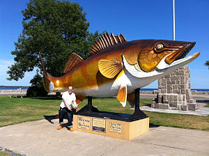 Mille Lacs Lake - Fishing on Mille Lacs Lake is promoted by a giant walleye statue. It is located off of U.S. Route 169 in Garrison.