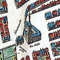 Maastricht, Houtmarkt met Gevangenpoort en Lakenhal, detail kaart Atlas van Loon (Blaeu, 1652).jpg