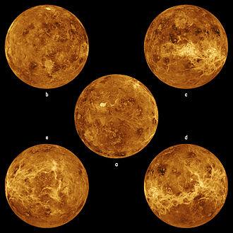 Magellan (spacecraft) - Five global views of Venus by Magellan