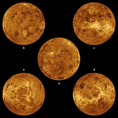 Five global views of Venus by Magellan.