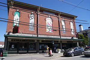 Damariscotta, Maine - Lincoln Theater (upper level) and the Maine Coast Bookshop at 158 Main Street, Damariscotta