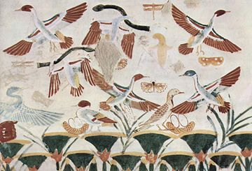Hunting birds with throwing sticks in ancient Egypt Maler der Grabkammer des Nacht 006.jpg