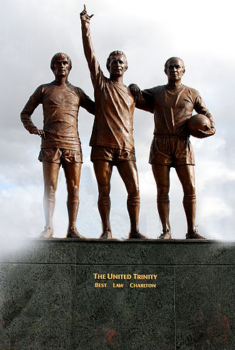 "Bobby Charlton - The ""United Trinity"" statue of Charlton (right) alongside Denis Law (centre) and George Best (left) outside Old Trafford"