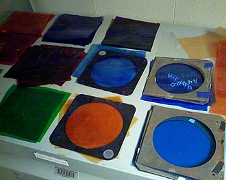 Color gel - Many color gels organized, some in gel frames