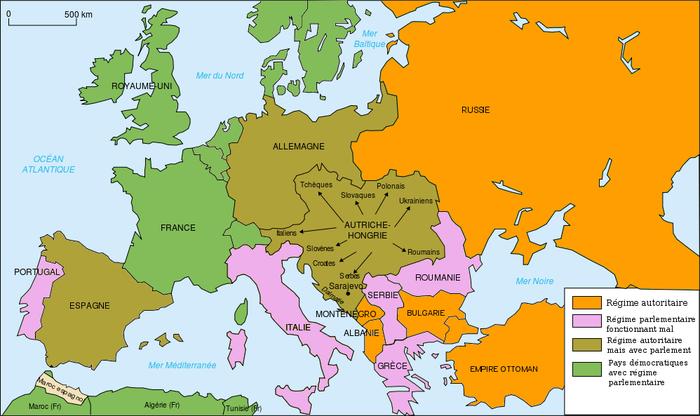 Carte des régimes politiques à la veille de la Première Guerre mondiale.