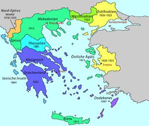 Expansion des Territoriums Griechenlands 1832-1947