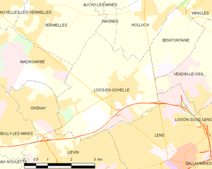 Hohenzollern Redoubt (1916) - Map of Loos-en-Gohelle and vicinity (commune FR insee code 62528)