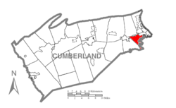 Map of Cumberland County, Pennsylvania highlighting Lower Allen Township