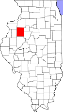 Map of Illinois highlighting Knox County