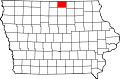 Map of Iowa highlighting Worth County.svg