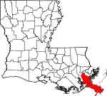 State map highlighting Plaquemines Parish