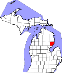 Map of Michigan highlighting Iosco County.svg