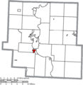 Map of Muskingum County Ohio Highlighting South Zanesville Village.png