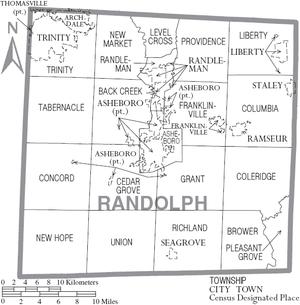 Randolph County, North Carolina - Map of Randolph County, North Carolina With Municipal and Township Labels