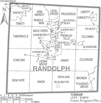 Randolph County, North Carolina - Map of Randolph County, North Carolina With Municipal and Township Labels