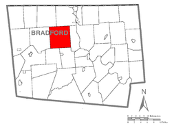 Map of Bradford County with Smithfield Township highlighted