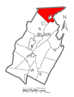 Map of Blair County, Pennsylvania highlighting Snyder Township