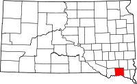 Map of South Dakota highlighting Yankton County