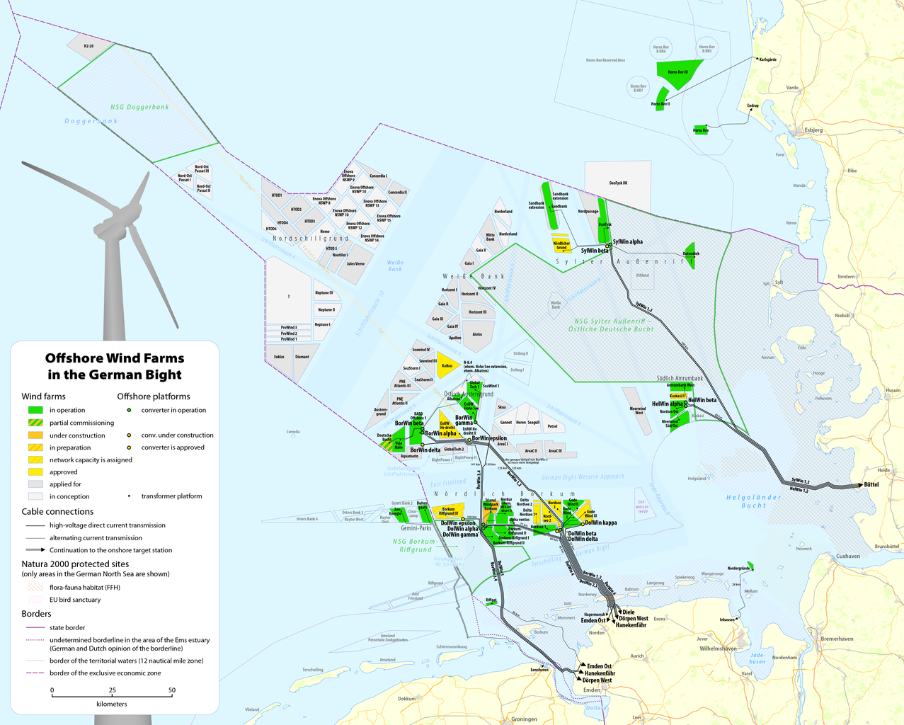 Map Of Germany North Sea.File Map Of The Offshore Wind Power Farms In The German Bight Png
