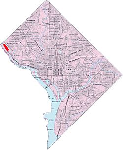 Map of Washington, D.C., with Potomac Heights highlighted in red