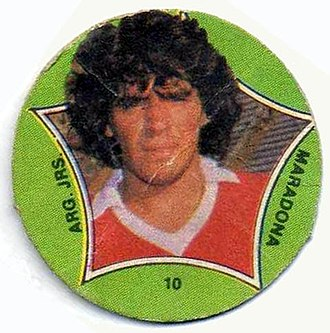 Association football trading card - Circular-shaped card were introduced in the 1970s in Argentina with great success. Diego Maradona is depicted on this, c. 1980