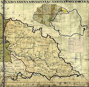 Maramureș - Maramuresch county on the map of the Habsburg Kingdom of Hungary, 1780-84. The present-day borders of Romania are projected to the historical map.