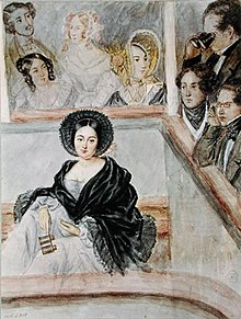 Watercolour of Marie Duplessis at the theatre, by Camille Roqueplan