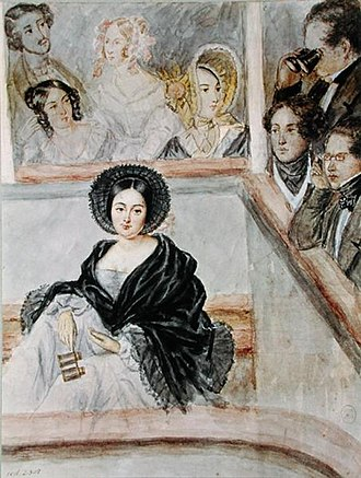 Marie Duplessis - Watercolour of Marie Duplessis at the theatre, by Camille Roqueplan