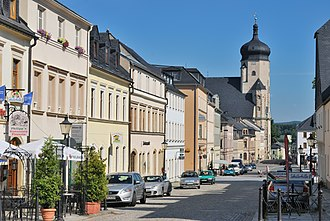 Marienberg - View along Zschopauer Straße to the town church of St. Mary's