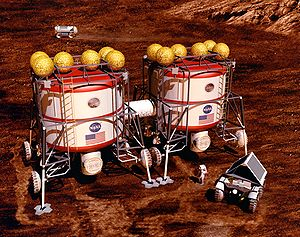 Mars to Stay - Artist's conception of a Mars Habitat   1993 by John Frassanito and Associates for NASA