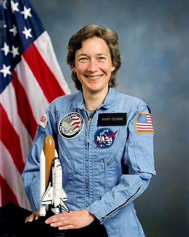 Astronaut Mary L. Cleave, NASA photo (8 April 1985)Source: Wikipedia (NASA site unavailable February 2019) 384px-Mary_Cleave.jpg