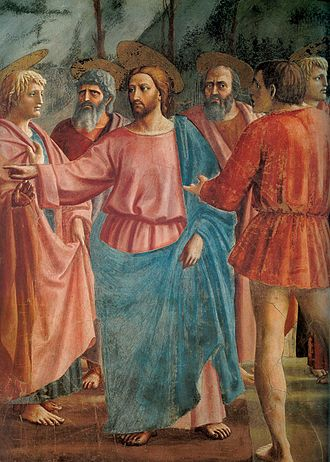 The Tribute Money (Masaccio) - Christ with disciples in the painting.