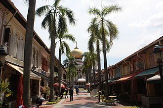 Kampong Glam - Masjid Sultan (Sultan Mosque) and Bussorah Pedestrian Mall at Kampong Glam.