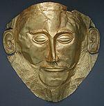 Masque d or dit « d Agamemnon », (-XVIe s., cercle A des tombes)