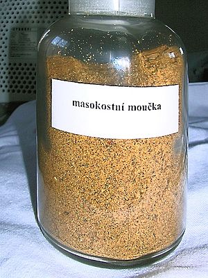 A bottle with meat and bone meal