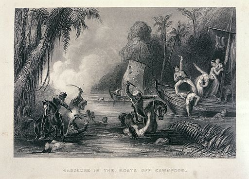 Massacre in the boats off Cawnpore - The history of the Indian Mutiny (1858-1859), opposite 336 - BL