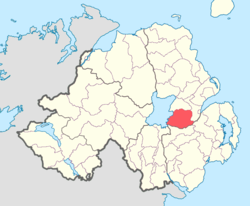 Location of Massereene Upper, County Antrim, Northern Ireland.