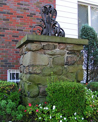 Dyker Heights, Brooklyn - Massive stone pier outside a house in Dyker Heights