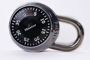 Combination lock - A single-dial padlock by Master Lock.