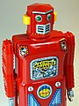 Masudaya – Tin Wind Up – Mini Machine Man Robot (ミニ マシンマン ロボット) – Last member of the Gang of Five – Close Up.jpg