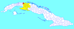 Matanzas municipality (red) within Matanzas Province (yellow) and Cuba
