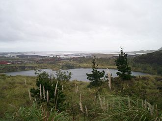 Matukutururu - The quarried remains of Matukutūruru, when part-filled with water. Picture is taken from some of the higher remnants.
