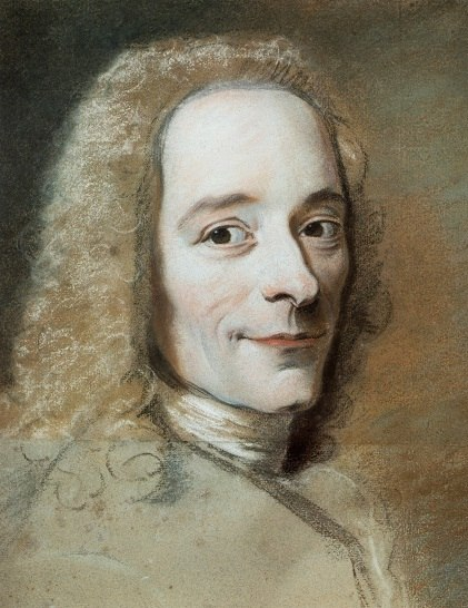 Maurice Quentin de La Tour, portrait de Voltaire (1735) avec agrandissement