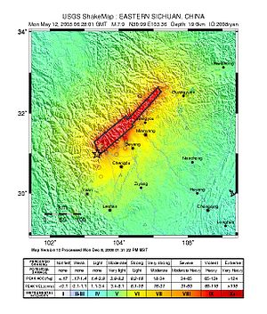 2008 Sichuan earthquake - USGS shake map