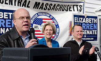 Jim McGovern (American politician) - (l–r) McGovern campaigning in 2012 on behalf of U.S. Senate candidate Elizabeth Warren, alongside Lieutenant Governor Tim Murray at an Auburn rally.