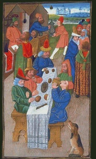 Courir de Mardi Gras - Medieval French peasants enjoying a meal
